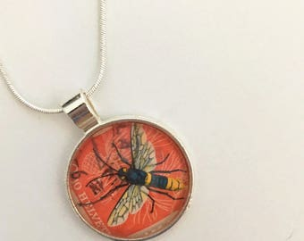Bee Postage Stamp Glass Pendant Bubble Necklace