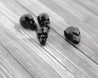 Jet SKULL Bead Swarovski Crystal Elements 13mm Black Faceted Skull 5750 Skulls Ulitmate Halloween or Goth Crystal Glass Beads
