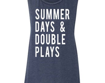Summer Days And Double Plays Muscle Tank Women's Baseball Shirt Baseball Season Baseball Mama Muscle Tank Women's Clothing