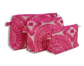 Personalized Cosmetic bags, patterned, cosmetic bag set, 3 pieces monogrammed set, makeup bags