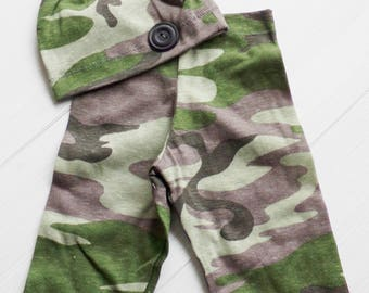 Photo prop, CAMO boys collection, pants, hat, newborn and sitter -
