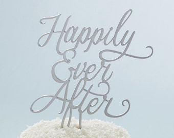 Happliy Ever After Cake Topper Silver Wedding Cake Toppers Decoration