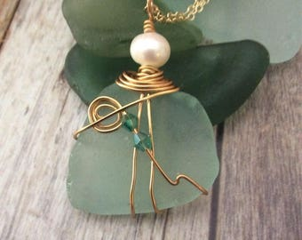 Sea Glass Wire Wrapped With Pearl Necklace