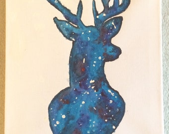 Galaxy Stag Water colour Canvas