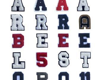 "2.5""x2"" Chenille Letters A E R L T S P B O Q 11 Iron on Sew On Patch Motif Applique for Varsity Collegiate Letterman Jacket"