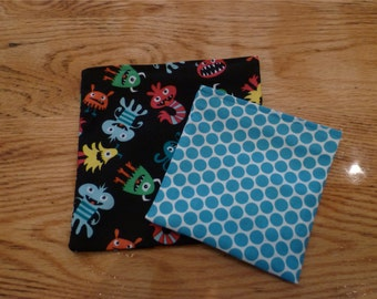 Reusable  Snack Sandwich Bag  Set Monsters and Dots