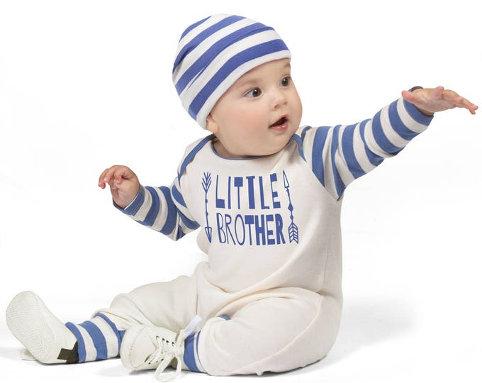 Newborn Boy Coming Home Outfit, Baby Boy Romper, Baby Boy Coming Home Outfit, Blue Little Brother Outfit, TesaBabe