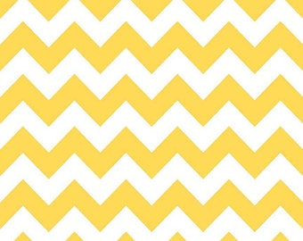 Fat Quarter, Medium Chevron Fabric, Yellow and White Fabric, Riley ...