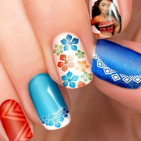 Moana Disney Nails Designs: Moana Disney Nail Transfers Illustrated Nail Art Decals