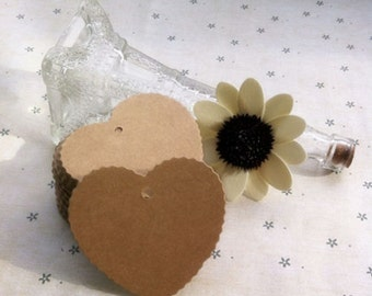 50x Heart Natural Kraft Paper Tags for Bomboniere Favour Box or Wedding & Party Gift Box | Embellishment 6x5.5cm