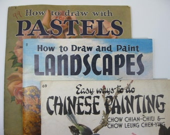 Vintage Walter T Foster Art Books  Set of 3 ... Chinese Painting book 69 . Draw with Pastels book 6 . Draw and Paint Landscapes book 8