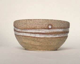 Handmade Stripes Bowl in Soft Mat White and Natural Unglazed Pottery | Rustic Faceted Pottery Cereal Bowl