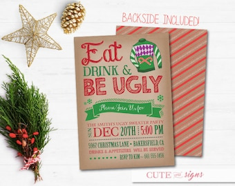 Ugly Sweater Party Christmas Invitation, Christmas Party Invite Digital Download