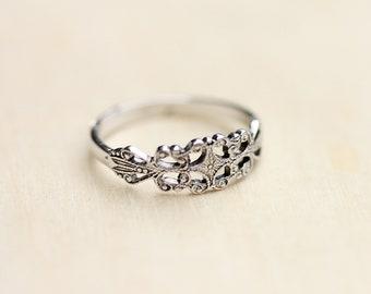 Silver Band Ring, Silver Filigree Ring, Silver Band, Pinky Ring, Midi Ring