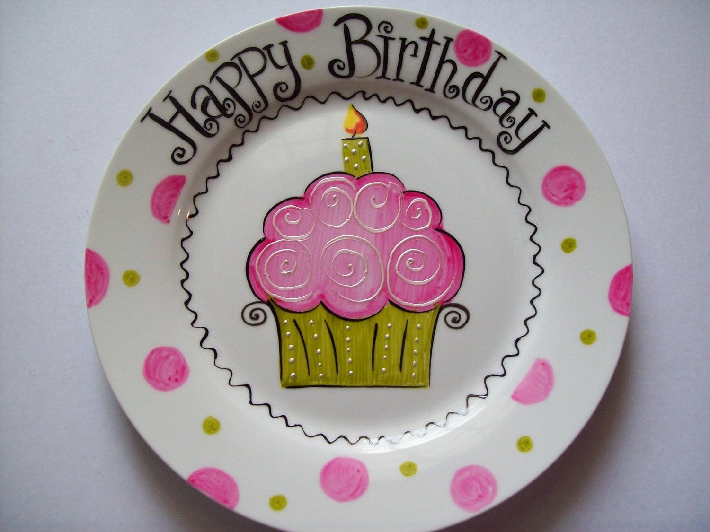 ?zoom & Pink cupcake birthday plate