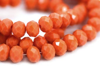 Chinese Crystal Rondelles in Vintage Opaque Coral 6x8mm