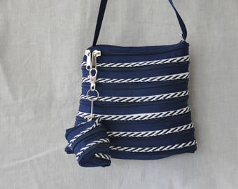 Navy blue bag and through Navy Blue and beige fully in zipper