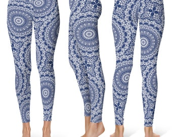 Indigo Leggings Yoga Pants, Printed Yoga Tights for Women, Blue and White Mandala Pattern