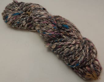 Bulky Yarn, Alpaca and Wool Blend, Handspun and Hand Dyed Yarn, Fiber Art, Blue, Gray, White, Pink, 68 Yard Skein, 2 Ply