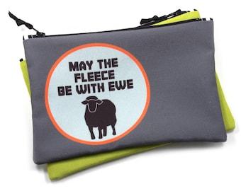 Zipper Bag, Fiber Art Geek, May the Fleece Be With You, Sheep Star Wars
