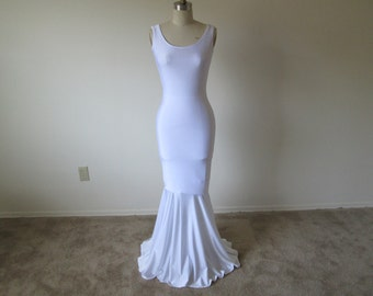 White Mermaid Maxi Dress, Maxi Dress, Mermaid Dress, Fitted Dress, Flowy Dress, Bodycon Dress