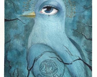 L'oiseau bleu - The blue bird - peinture aquarelle et feuille d'or - tableau déco cadeau dessin animal symbolique doré