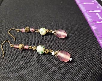 Vintage Glass And Brass Beaded  Dangling Pierced Earrings