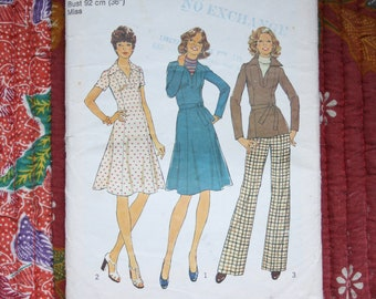 Size 14 1970s sewing pattern, Simplicity pattern 7177, Womens dress pattern, Womens top & pants pattern