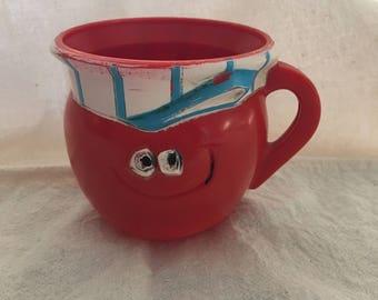 Vintage 1960s Advertising Cup, Choo Choo Cherry Koolaid Mug, Kool-Aid Cup, Kool Aid Pillsbury Co. 1969, F&F Mold Die Works, Dayton, Ohio