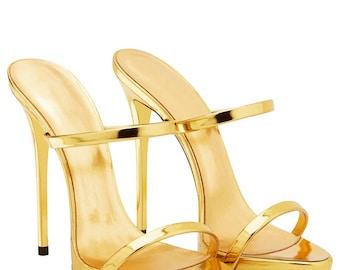 High heel mule stilettos Gold Sandals