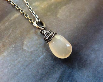 Moonstone teardrop silver necklace, small gift, affordable, gift for sister, gift for daughter, 20th birthday gift, 30th birthday gift