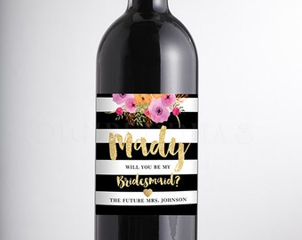 Will You Be My Bridesmaid? WINE LABEL Watercolor Bloom Faux Gold Glitter Personalized Maid of Honor Matron of Honor DIY or Printed- Mady