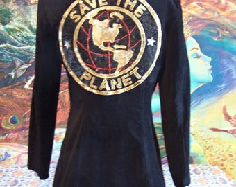 SAVE the PLANET, Velvet, Jacket, Black, Blazer, Vintage, Coat, size M