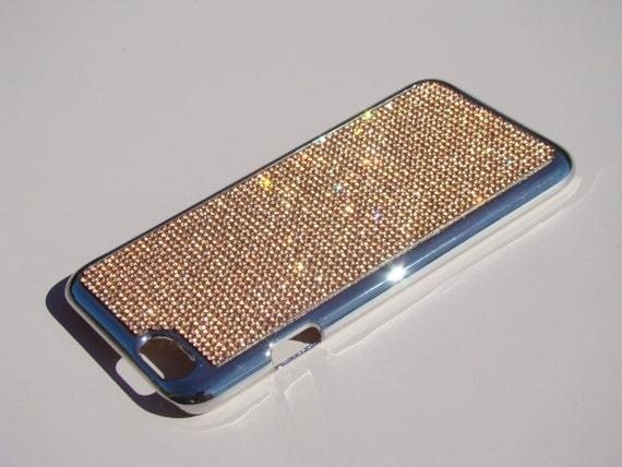 """iPhone 6 / 6s  4.7"""" Rose Gold Rhinestone Crystals on Silver Chrome Case. Velvet/Silk Pouch Bag Included, Genuine Rangsee Crystal Cases."""