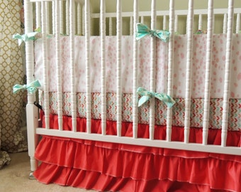Custom Crib Bedding in Aqua, Coral, Gold, and Mint with Metallic Gold Cross Print