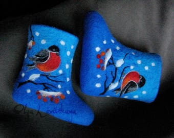 Felted Baby Booties - Toddler Booties - Warm Wool Baby Boots - Bright Blue Baby Shoes - Wet Felted Kids Booties - Needle Felted Decoration