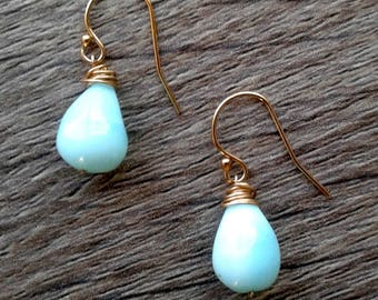Glowing, sky-blue Peruvian blue opals delicately crowned with 14k gold filled wire wrapping dangle from 14k gold filled earwires