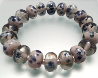 Sparkly Grey and Blue Lampwork Glass Bead Stretch Bracelet