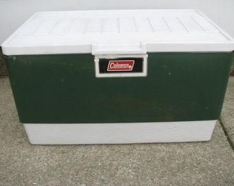 Vintage Coleman Green Metal Ice Cooler Chest