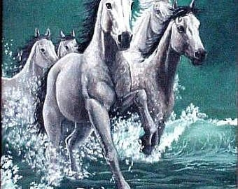 "Surf Runners- White horses running in the ocean surf - turqoise , white and black- 24""x36"""