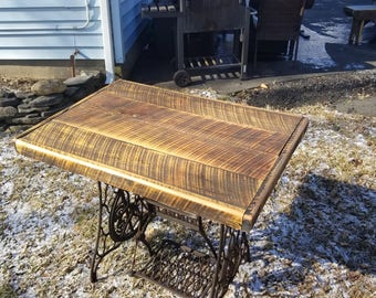 Rustic Primitive Table with Singer Sewing Machine Base