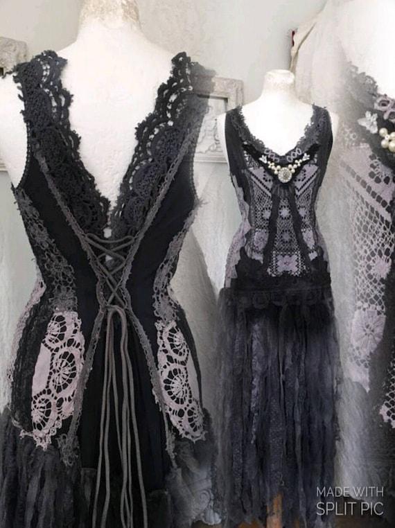 Gothic wedding dress black and dark blue wedding dress goth for Blue gothic wedding dresses