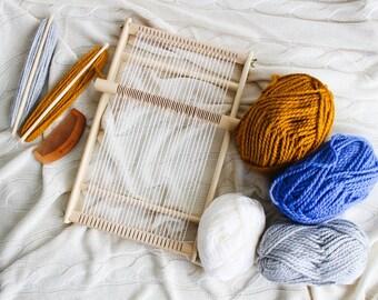 weaving loom, Tapestry loom and tools kit, Frame loom with heddle bar, loom kit, weaving loom kit, weaving kit, wooden loom weaving Lap Loom