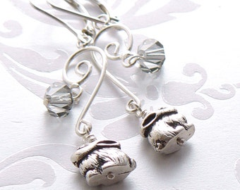 Sterling Earrings - Antique Silver Pewter Bunny Beads, Black Diamond Crystal Beads, Chandelier Style