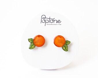 Orange earrings, clementine tangerine studs, mandarin fruit jewelry, orange studs, kawaii