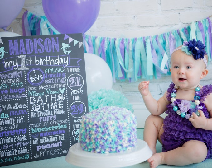 Mermaid Birthday Chalkboard / Under the Sea Theme Chalkboard / Girl First Birthday Chalkboard/ Little Mermaid Chalkboard / DIGITAL FILE ONLY