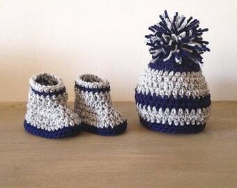 Custom Crochet Baby Booties and Hat Set