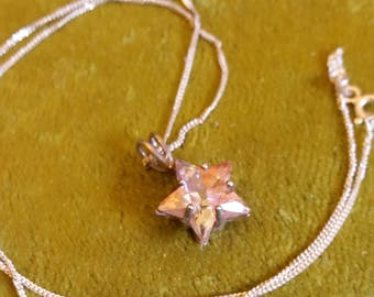 Orange and Pink Crystal Star On Sterling Silver Chain