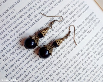Black and bronze victorian earrings