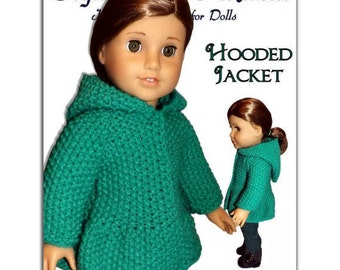 Knitting Pattern for Hooded Jacket, fits American Girl Doll and 18 in. dolls. Instant Download 051